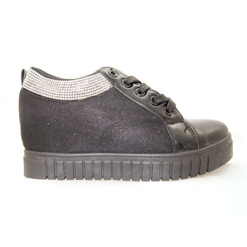Black Silver Glitter Wedge Trainer