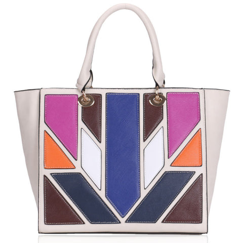 Beige and Multi-Coloured Panel Tote
