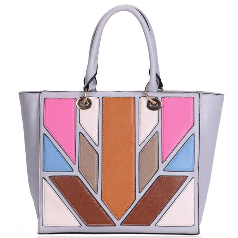 Grey and Multi-Coloured Panel Tote