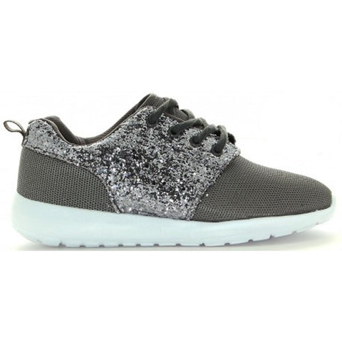 Grey Silver Glitter and Mesh Trainers
