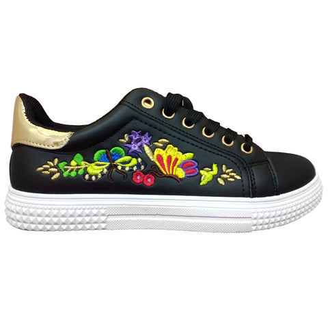 Floral Embroiderd Lace up trainer Black