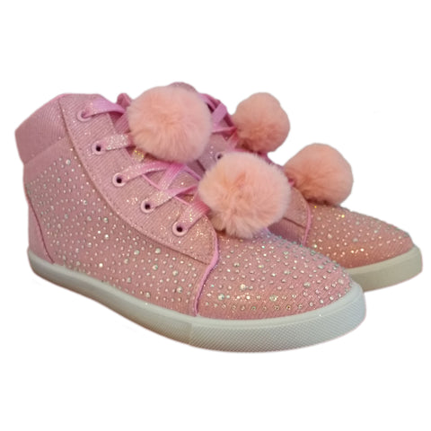 Kids Sparkly Canvas Diamante Pom Pom boots pink