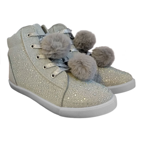 Kids Sparkly Canvas Diamante Pom Pom boots Silver