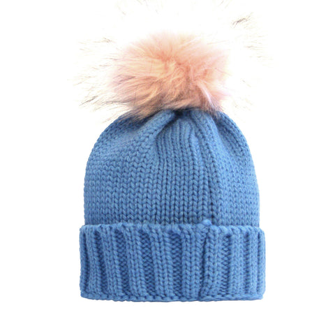 Childrens Single Pom Pom Beanie Blue
