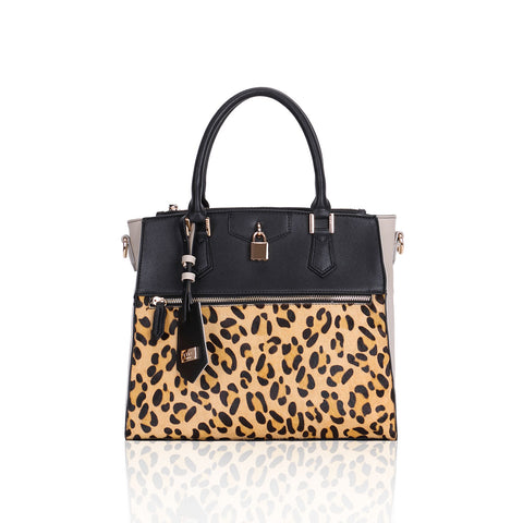 LYDC Black and Beige Kennedy leopard print Tote Bag