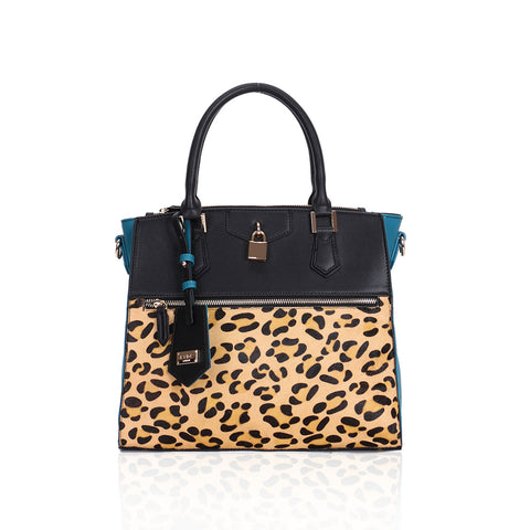 LYDC Black and Teal Kennedy leopard print Tote Bag