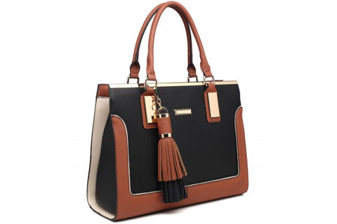 Bessie London (Lilly B) Black and brown Structured Tote Bag