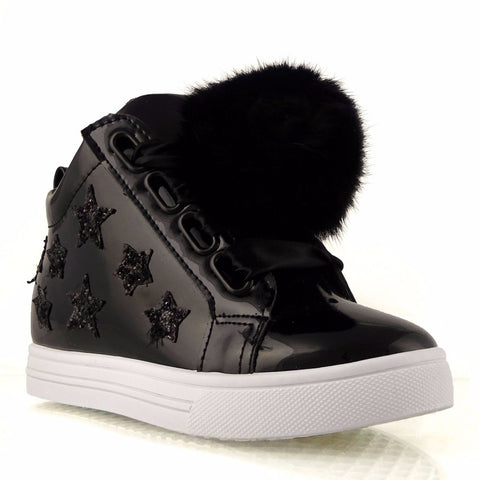Black Patent Star and pom pom Hight Top Boots/Trainers