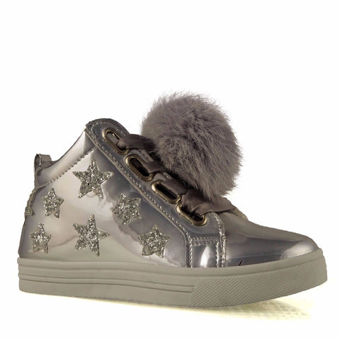 Silver Patent Star and pom pom Hight Top Boots/Trainers