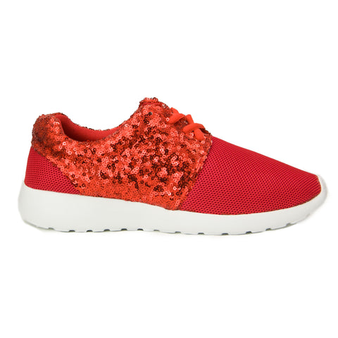 Red Sequin and Mesh Trainers