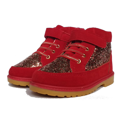 Kids Sparkly Faux Suede Boots Red