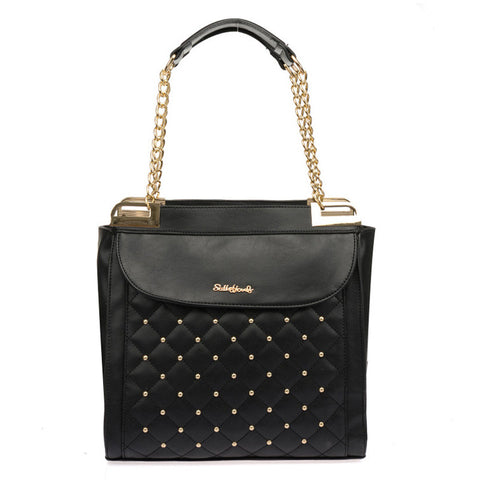 Sally Young Black Quilted Handbag with Studs