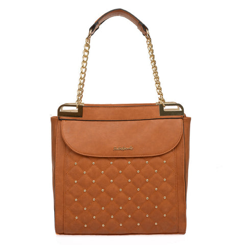Sally Young Brown Quilted Handbag with Studs