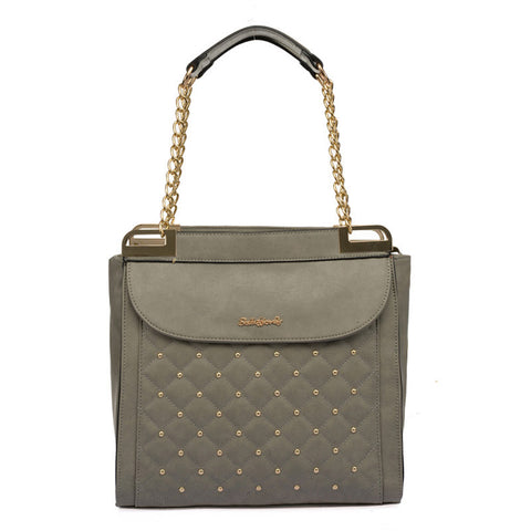 Sally Young Grey Quilted Handbag with Studs