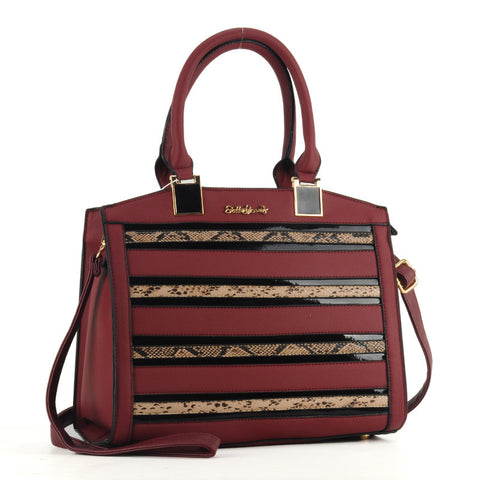 Sally Young Burgundy Snakeskin and patent striped Bag