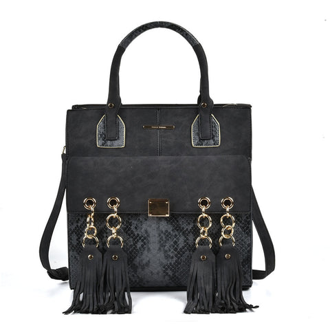 Sally Young Black tote bag with tassle and snakeskin detailing