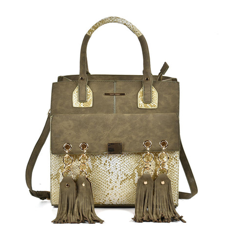 Sally Young Green tote bag with tassle and snakeskin detailing