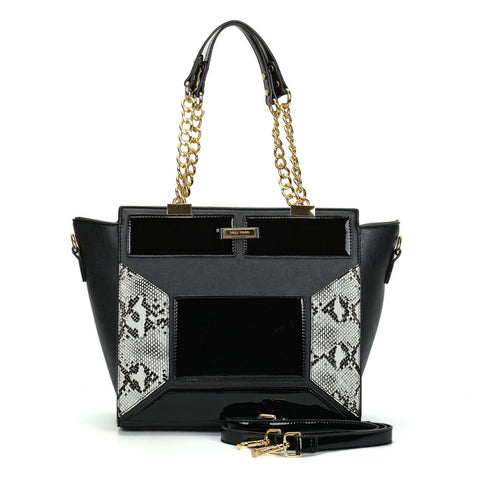 Sally Young Black Winged Tote bag with Snakeskin detailing