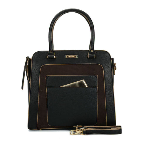 Sally Young black Tote Bag With Dark Brown Detailing
