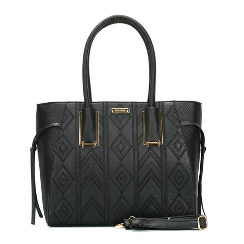 Sally Young Black Tote bag with Snakeskin side panels