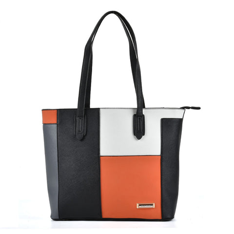 Sally Young Black, Orange and Grey Patchwork effect Grab Bag