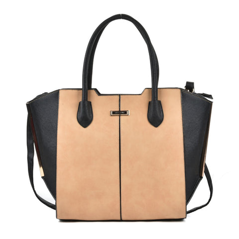 Sally Young Apricot Tote bag with Black side panels and handles