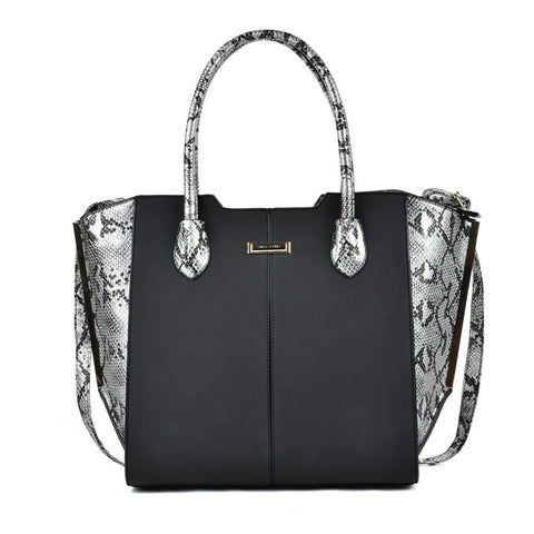 Sally Young Black Tote bag with Snakeskin side panels and handles