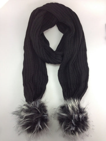 Pom Pom Winter Warm Scarf Black with Black and white Pom Pom
