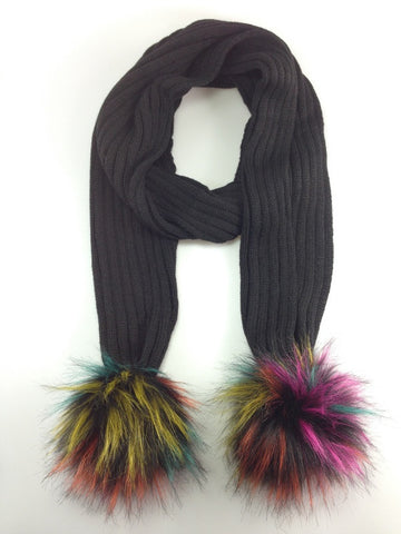 Pom Pom Winter Warm Scarf Black with Multi Colour Pom Pom