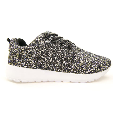 Black and Silver Glitter trainers