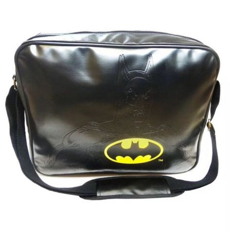 'The Caped Crusader' Black Batman Embossed Messenger Bag
