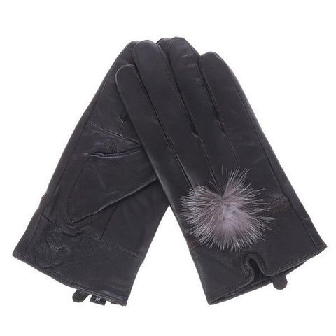 Black Leather gloves with faux fur pom pom