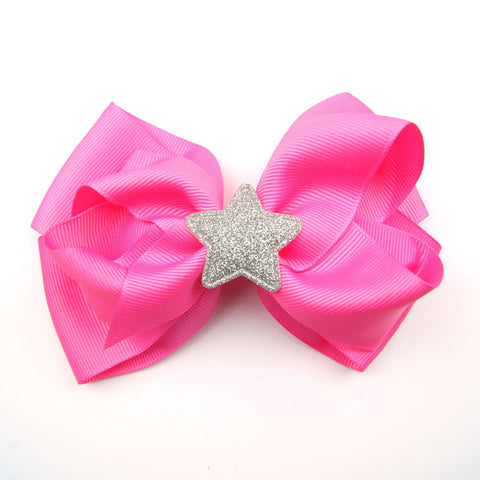 Pink Hair Bow with Glitter Star
