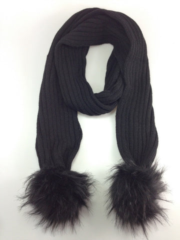 Pom Pom Winter Warm Scarf Black with Black Pom Pom