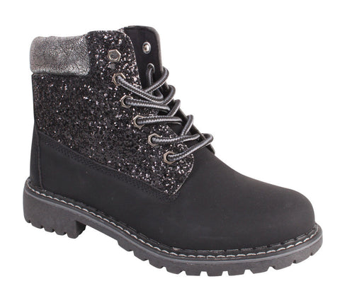 Black  Glitter Lace up Boots