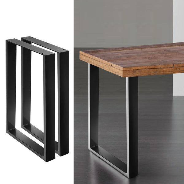 2x Coffee Dining Table Legs Steel Industrial Vintage Bench Metal Box Shape 710MM