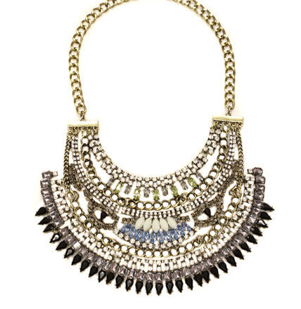 Lucia Bib metallic statement necklace accented with blue