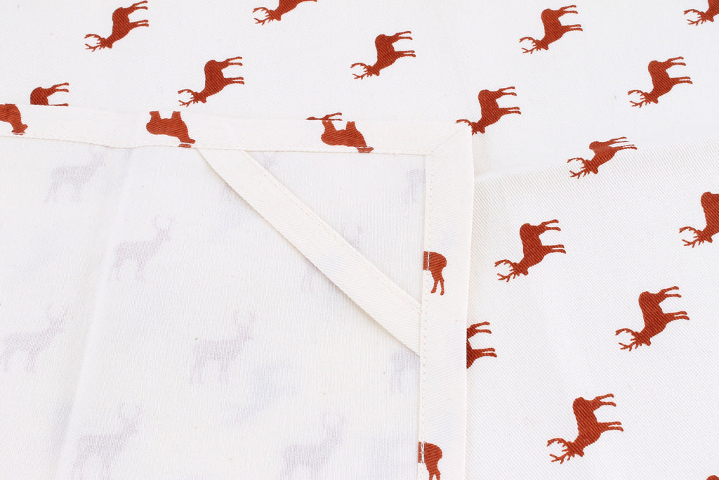 Stag print cotton tea towel