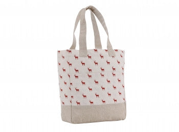 Stag print cotton shopper bag