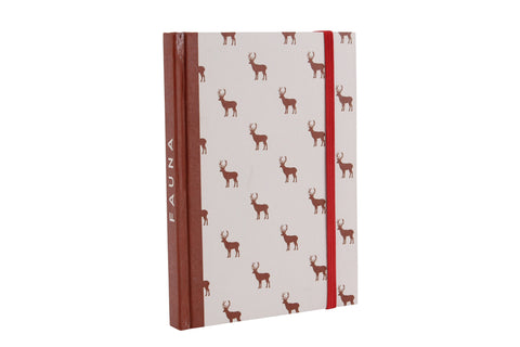 Stag print dark red paper notebook