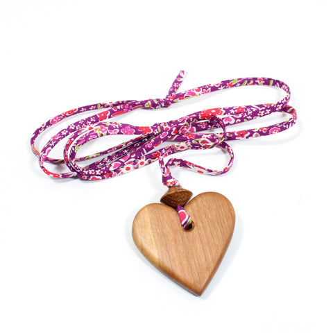 Liberty print fabric wooden heart pendant necklace - Mid Purple