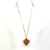 Liberty print fabric wooden heart pendant necklace -misti green