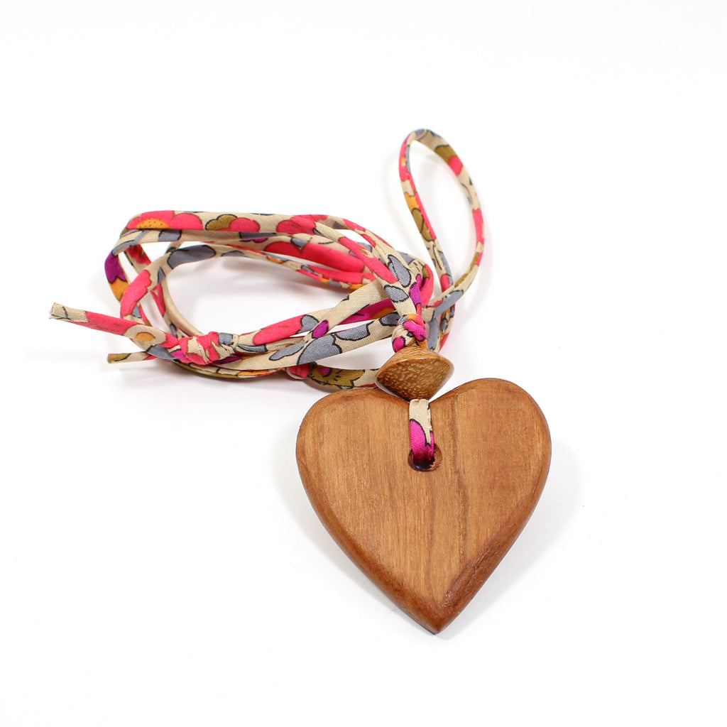 Liberty print fabric wooden heart pendant necklace -summer pinks