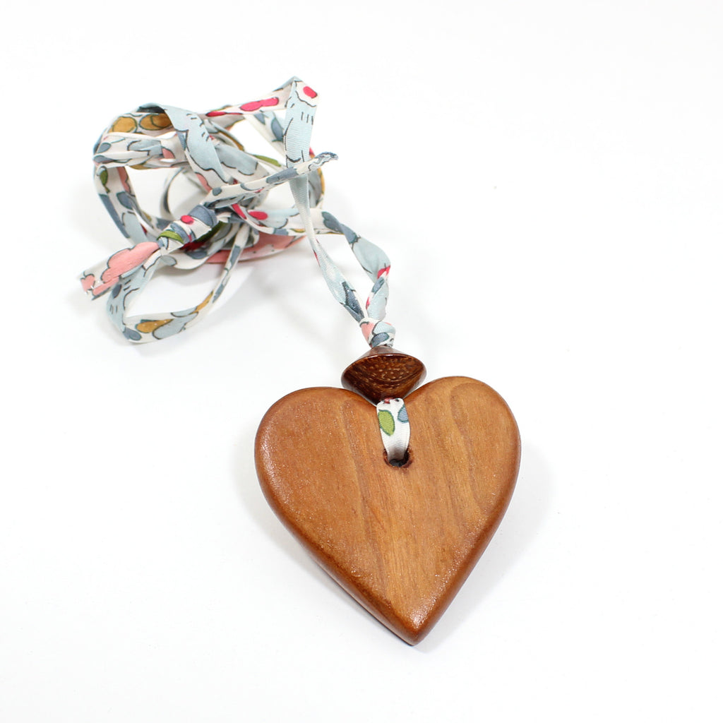 Liberty print fabric wooden heart pendant necklace - Teal blue