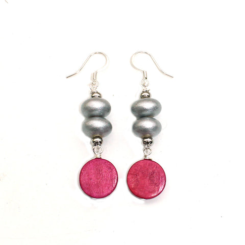 Silver and cedar pink wood pop earrings