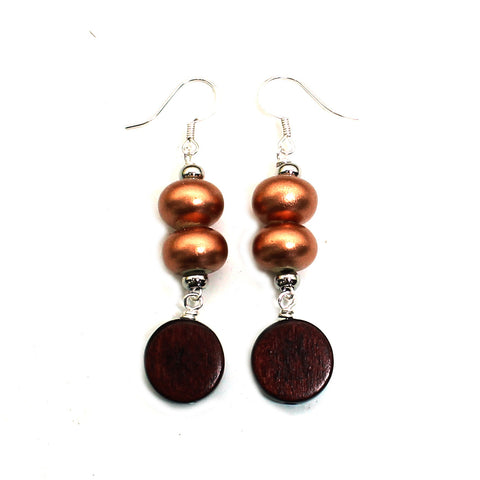 Copper Conker and wood pop earrings