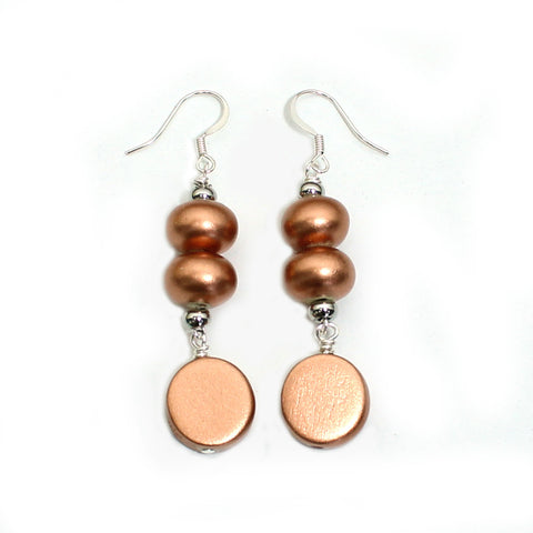 Copper and wood pop earrings