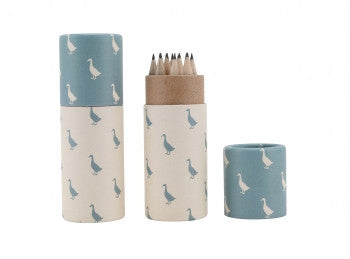 Duck print pencil pot and pencils