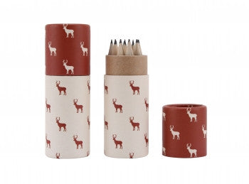 Stag print pencil pot and pencils