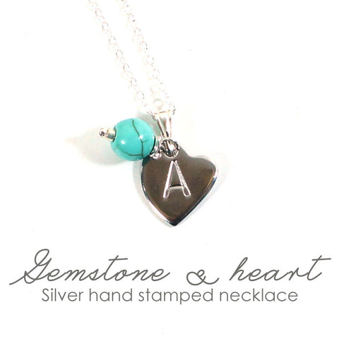 Heart initial stamped necklace